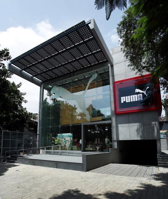 PUMA facade with solar panels