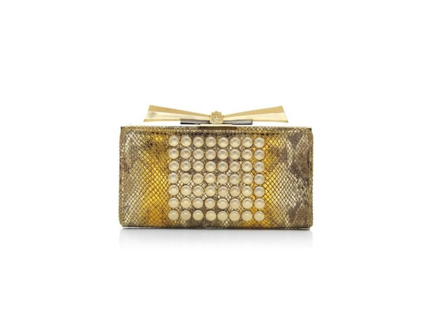 CARRIE - VARIATED METALLIC LEATHER STUDS - CHAMPAGNE ORANGE