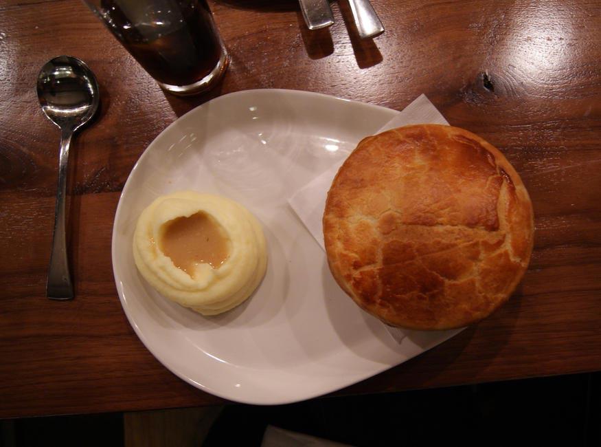 Bannock, Chicken Pot Pie with potato mash and gravy