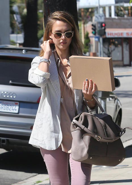 Jessica Alba with the new Tod's Miky Bag in L.A