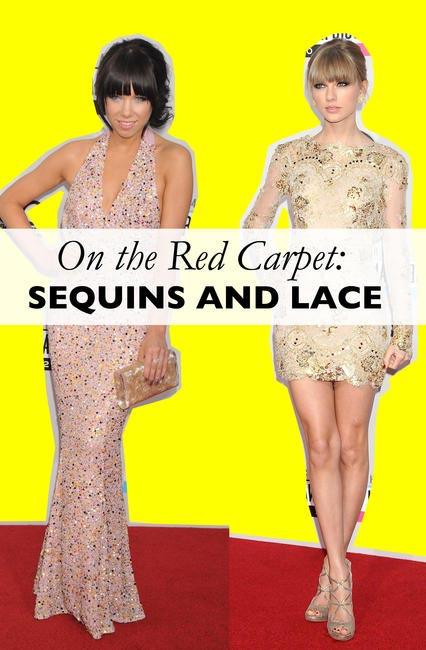 On the red carpet Sequins and lace
