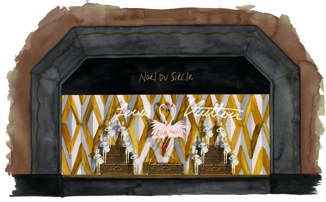 Sketch of the Louis Vuitton Window dislay
