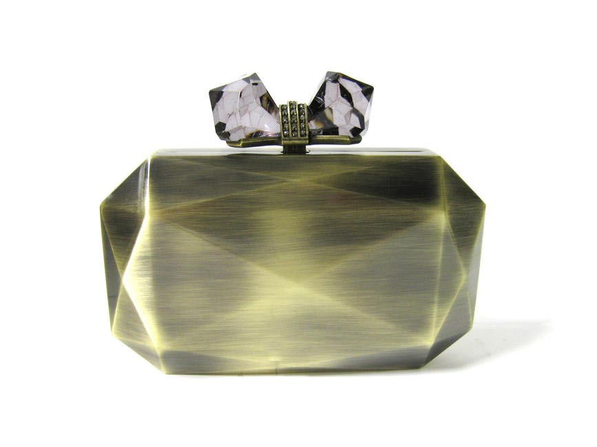FACETED RECTANGLE - METAL - ANTIQUE GOLD