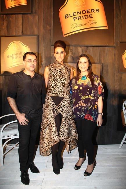 At Blenders Pride FashionTour Preview- Pankaj and Nidhi with Neha Dhupia