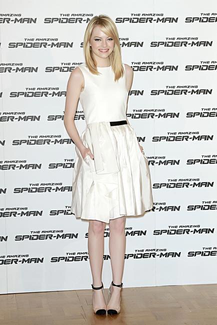 Emma Stone in  a Jason Wu dress and Christian Louboutin heels