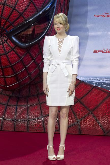 Emma Stone in an Andrew Gn dress with Christian Louboutin heels