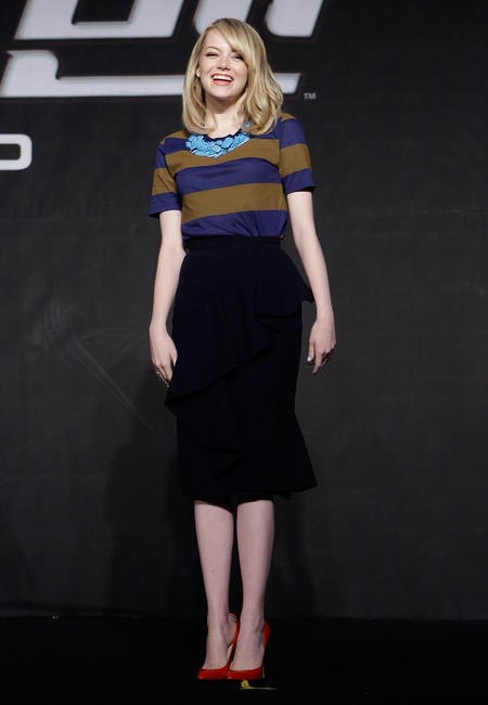Emma Stone in Burberry Prorsum with Brian Atwood pumps