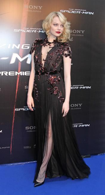 Emma Stone in Gucci with Chrstian Louboutin heels