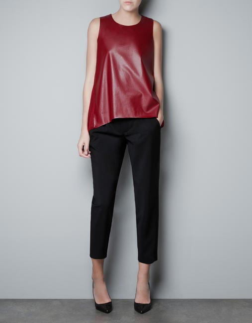 Zara, Leather front knit blouse, Rs2790, Picture Courtesy ZARA