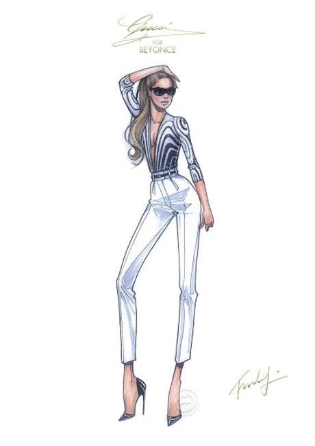 Frida Giannini's sketch for Beyonce