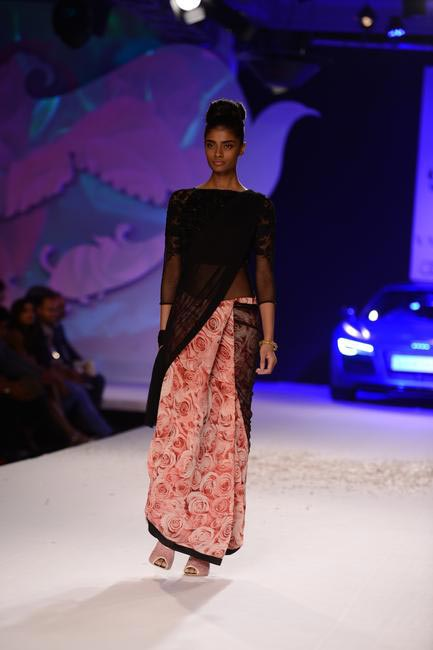 Love this rose prints sari by Varun Bahl