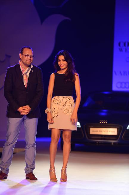 Michael Pershke and Freida Pinto presented Audi R8V10 at Delhi Couture Week 2013