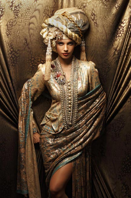 Suneet Varma Sequin sheeted chiffon sari with handmade necklace and bejewelled turban. Pirates of Couture collection, 2010