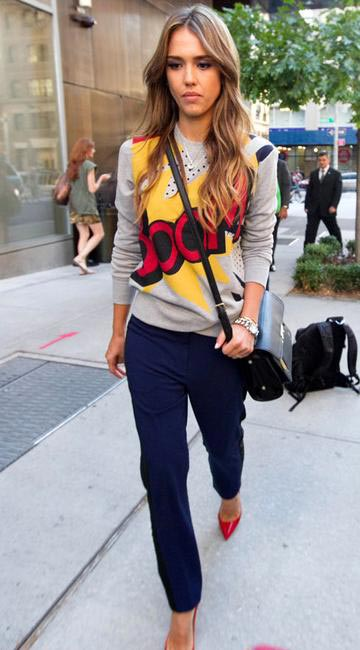 Jessica Alba in Philip Lim Comic Strip sweater