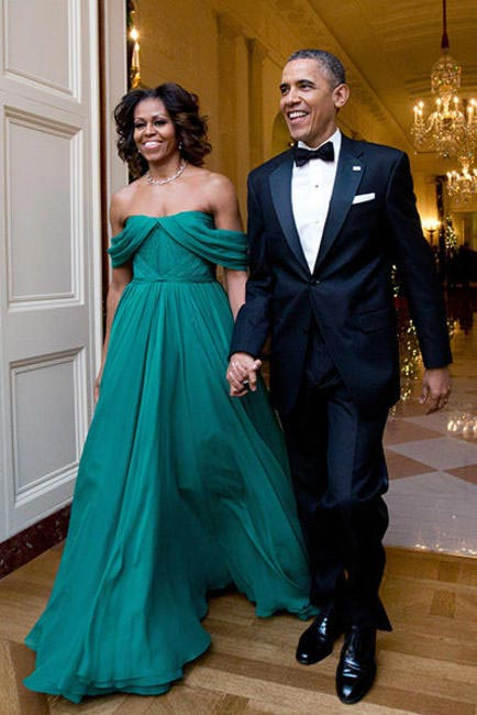 Michelle Obama in Green Marchesa gown at the Kennedy Center honors