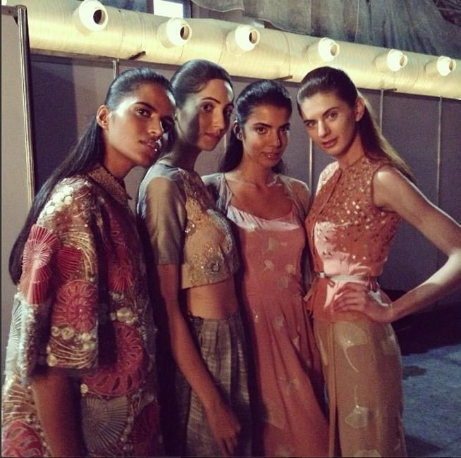 Models backstage before his SS'14 show at WIFW