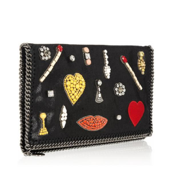 Stella McCartney The Falabella crystal-embellished faux leather clutch