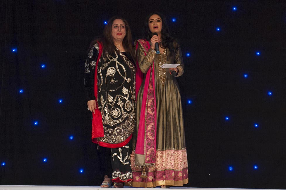 Founder of The Angeli Foundation, Angeli Kapoor Puri with presenter Hajra Mian at Manish Malhotra Fashion Fundraiser in London