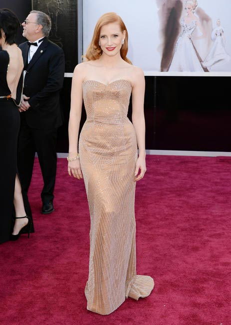 Jessica Chastain in Armani Privé dress and Harry Winston jewelry.