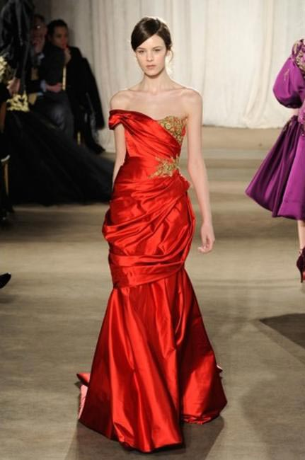 MARCHESA RED & GOLD GOWN