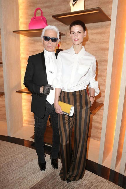 Karl Lagerfeld & Saskia de Brauw at Fendi's Paris Store Opening cocktail party