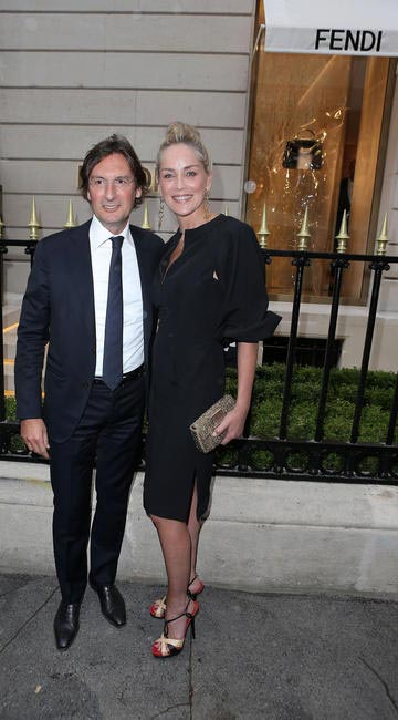 Pietro Beccari and Sharon Stone at Fendi's Paris Store Opening cocktail party