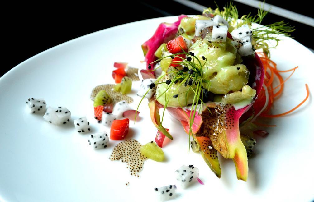 Dragon fruit and Mustard Prawn Salad