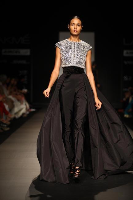 Black crystal-encrusted ensemble by Naeem Khan