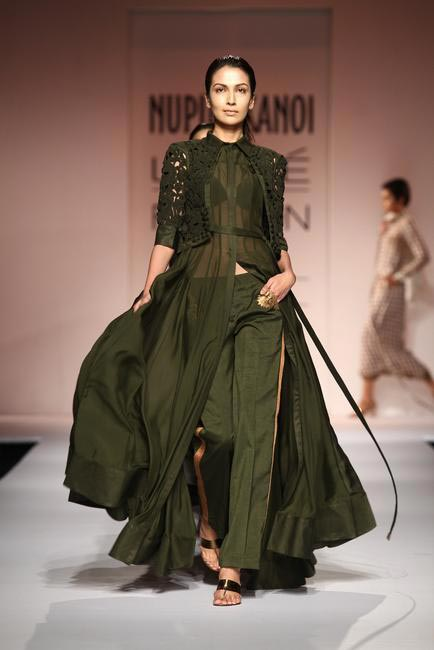 Nupur Kanoi used army green, matte gold and cream beautifully at LFW SR 2013