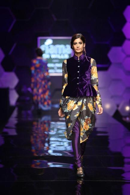 Peplum velvet jacket with an asymmetrical kurta by Payal Pratap