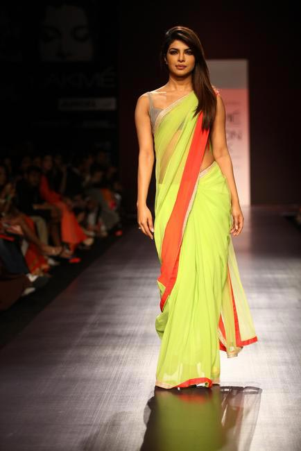 Priyanka Chopra walking at Manish Malhotra show at LFW SR 2013