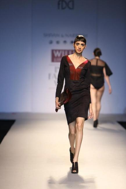 Shivan & Narresh black and burgundy dress - WIFW Autumn Winter 2013