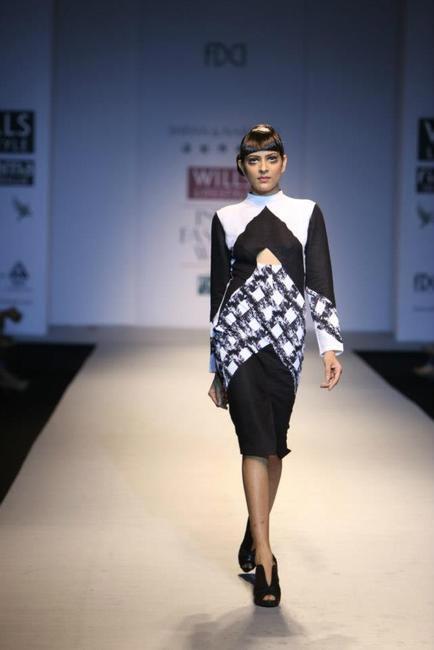 Shivan & Narresh Monochrome Dress - WIFW AW 2013