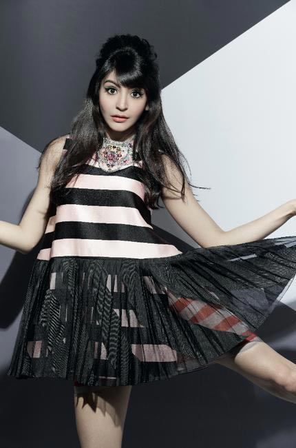 Anushka Sharma wears - Dior Striped dress and Swarowski 'Texture' necklace
