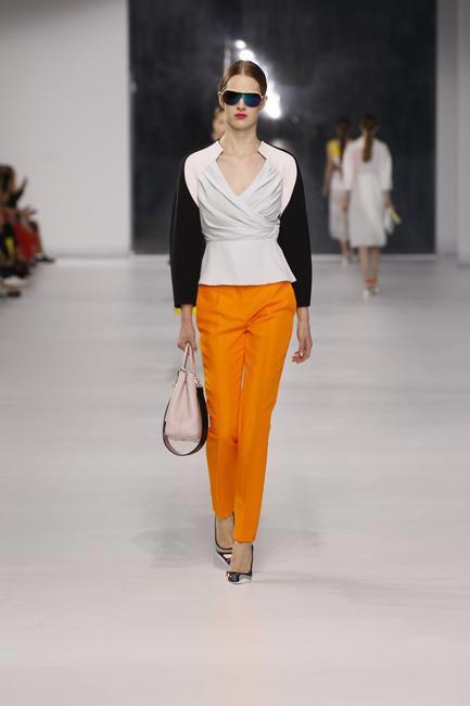 Dior black and pastel silk jacket with orange wool pants