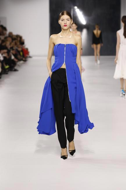 Dior cobalt blue silk bustier with black wool pants