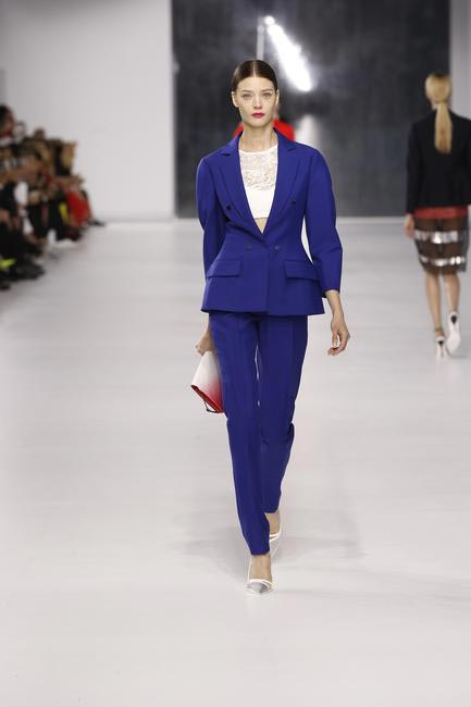 Dior cobalt blue wool jacket and pants with knitted bra