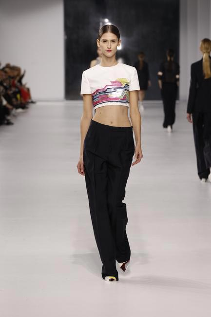 Dior embroidered off white silk top with navy wool pants