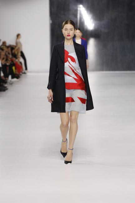 Dior Navy wool coat with plae bluejacquard silk dress and knitted metallic cotton underwear