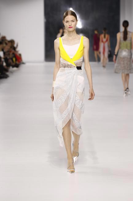 Dior yellow and pastel lace and silk dress with knitted metallic cotton underwear