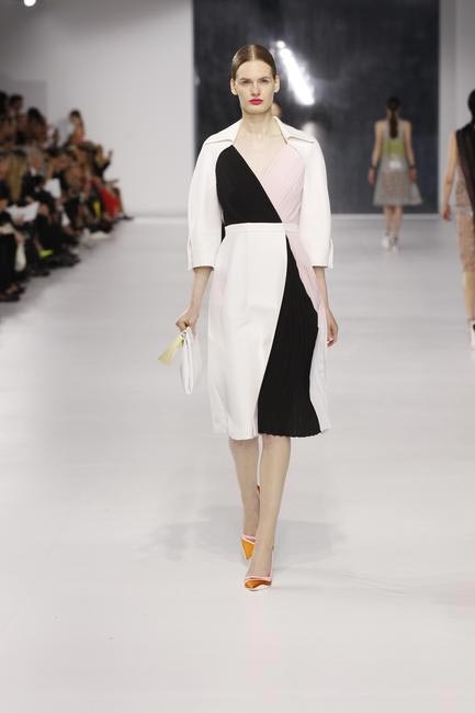 Off white, pastel and black cotton silk coat dress