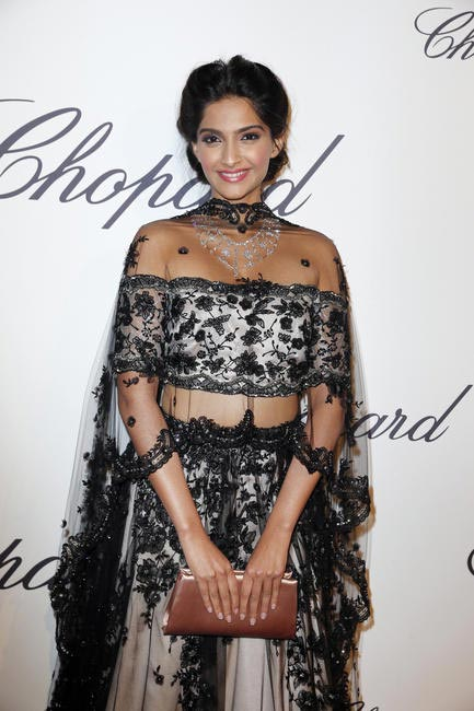 Sonam Kapoor in Shehlaa with Chopard baubles
