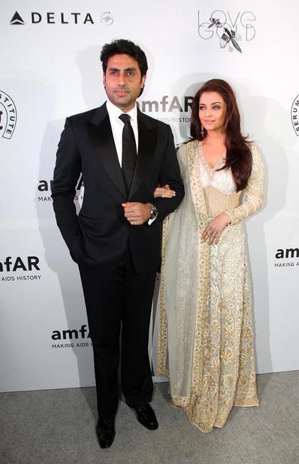 Abhishek and Aishwarya Rai Bachchan at the amfAR gala in Mumbai