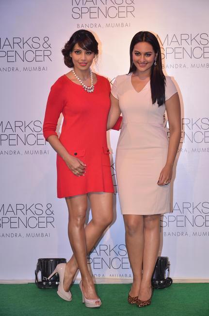 Bipasha Basu and Sonakshi Sinha at the official store launch of M&S flagship store in Bandra, Mumbai