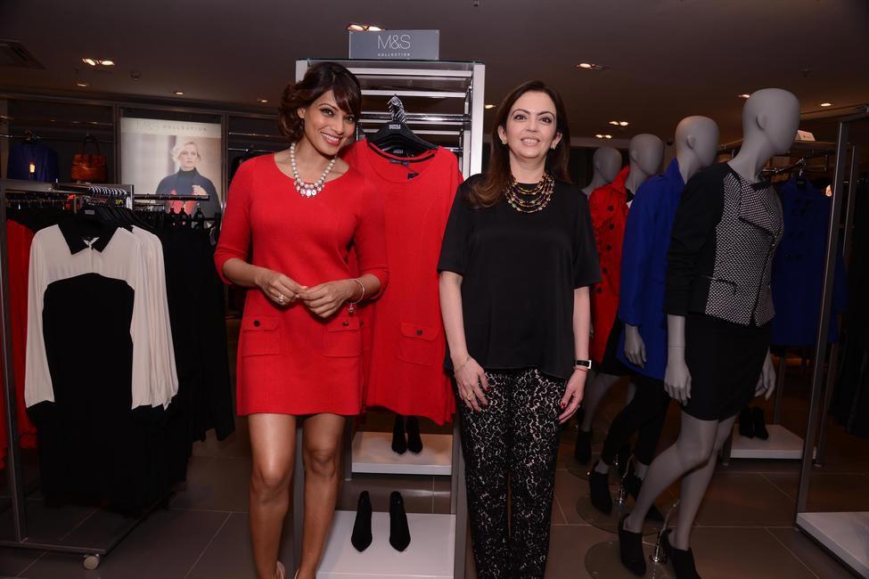 Bipasha Basu with Mrs. Nita Ambani at the official opening of M&S flagship store in Bandra, Mumbai