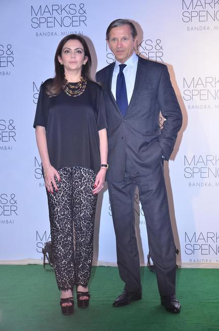 Mrs. Nita Ambani and Marc Bolland, Chief Executive, Marks & Spencer at the official opening of the M&S flagship Store in Bandra, Mumbai