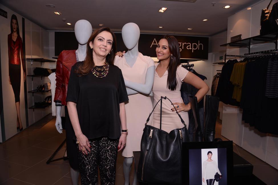 Mrs. Nita Ambani with Sonakshi Sinha at the official opening of M&S flagship store in Bandra, Mumbai