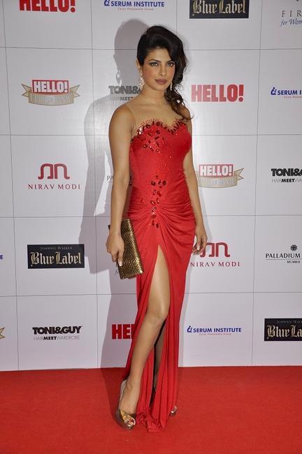 Priyanka Chopra in Monisha Jaising gown and Gucci clutch