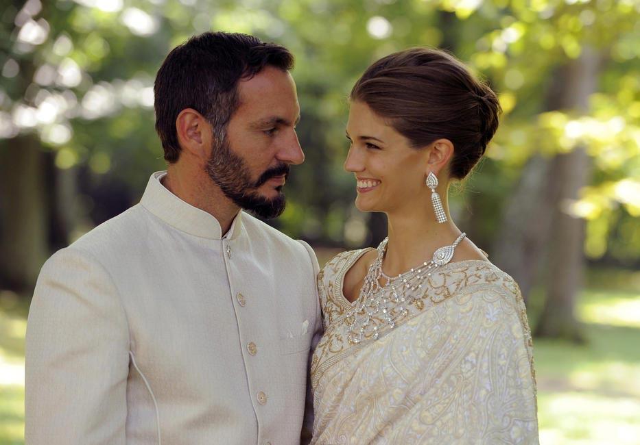 Prince Rahim Aga Khan and Princess Salwa (American supermodel Kendra Spears) in 'Manav Gangwani Timeless Collection'