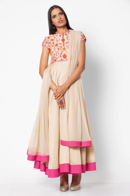 Cream and Fuschia anarkali from the Rohit Bal for Jabong collection